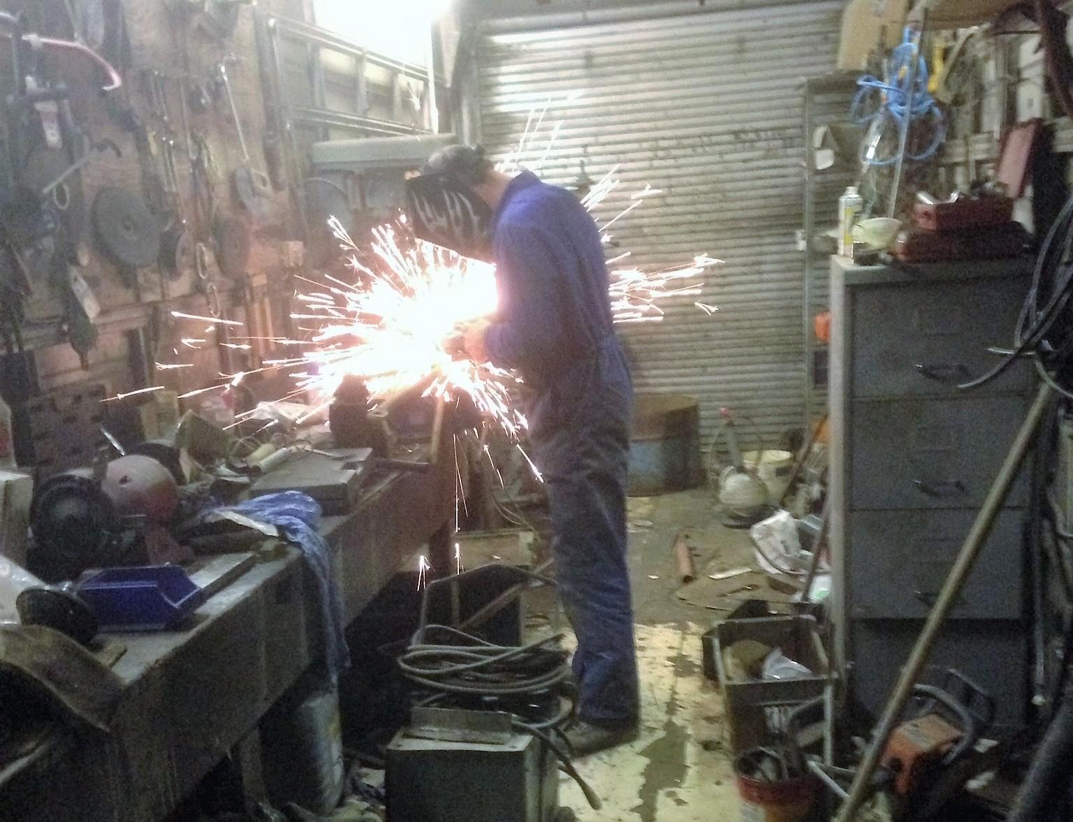 Simon Skeet at work welding